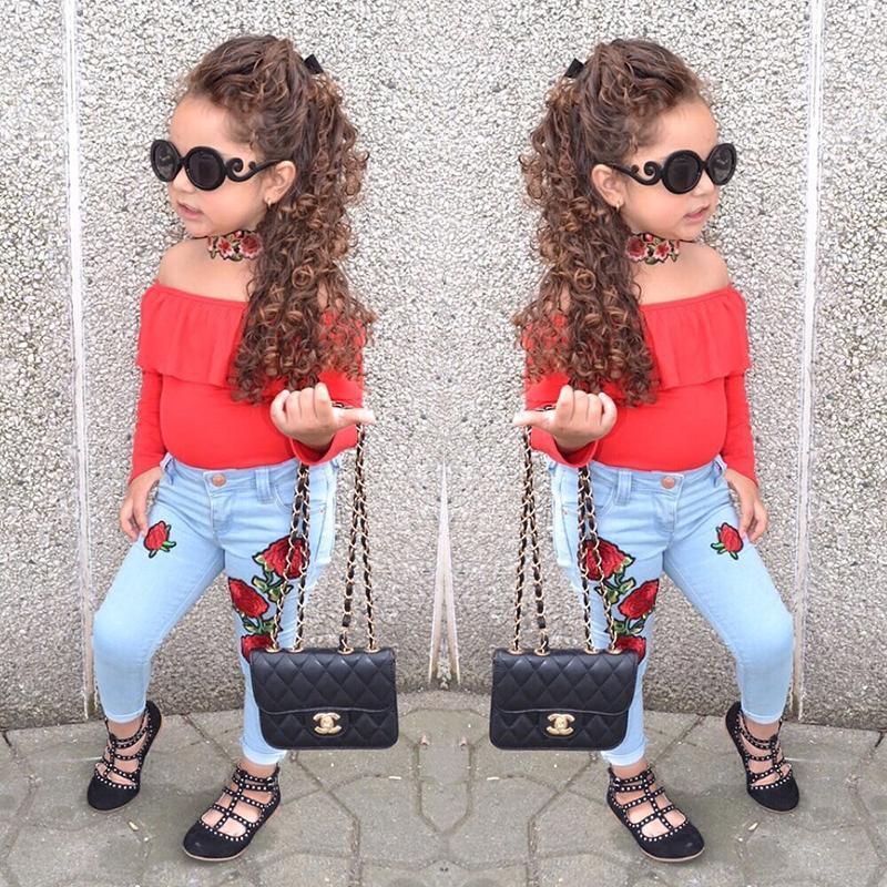 ee83d248a6 Compre Moda Infantil Meninas Mangas Compridas T Shirts Vermelhas + Calça  Jeans Floral Calças De Algodão Primavera Outono Conjunto De Roupas Menina  Conjunto ...