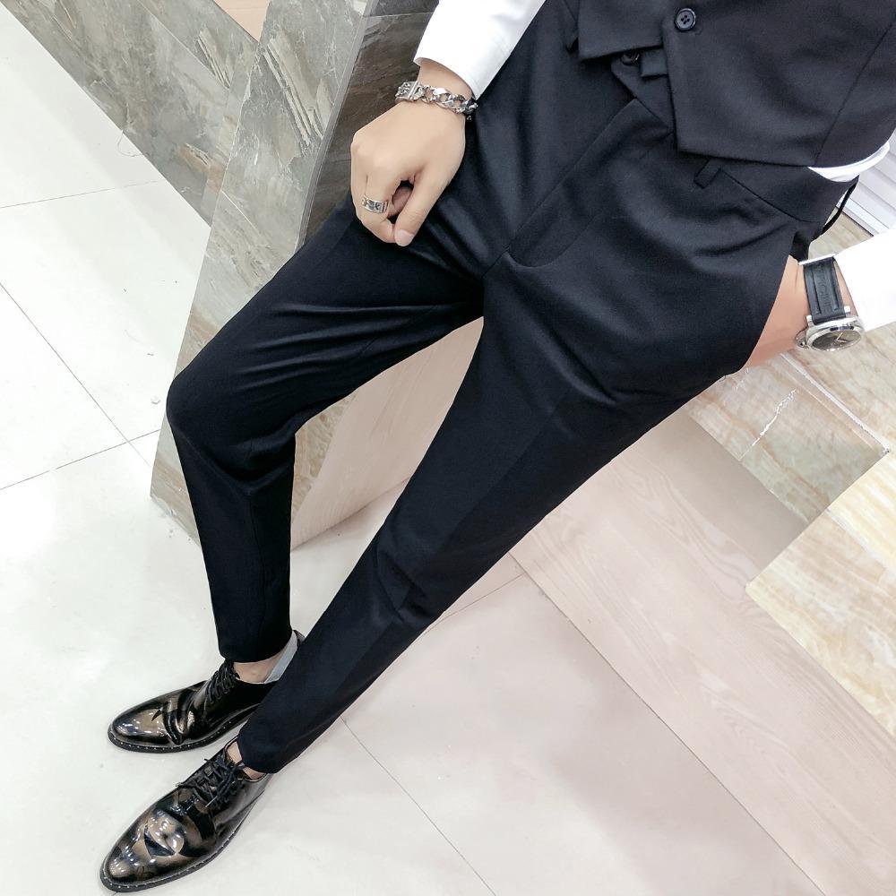 Compre Pantalones De Vestir Coreanos Slim Fit Hombres De Calidad Superior  Casual Traje Formal Sólido Pantalones Para Hombres Caballeros Negros  Pantalones De ... 570876c2b74f