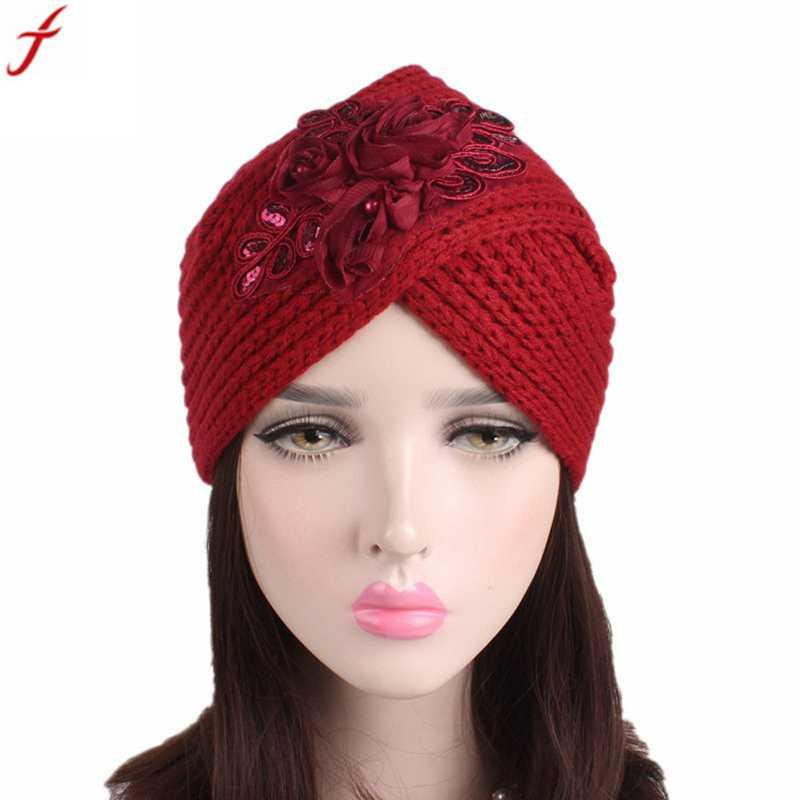 2018 Women Ladies Beanie Hat Retro Winter Knitting Hat Turban With Floral  Pattern Slouchy Beanies Skullies Warm Bonnet Knit Cap Slouch Beanie From ... 31048a12f1a