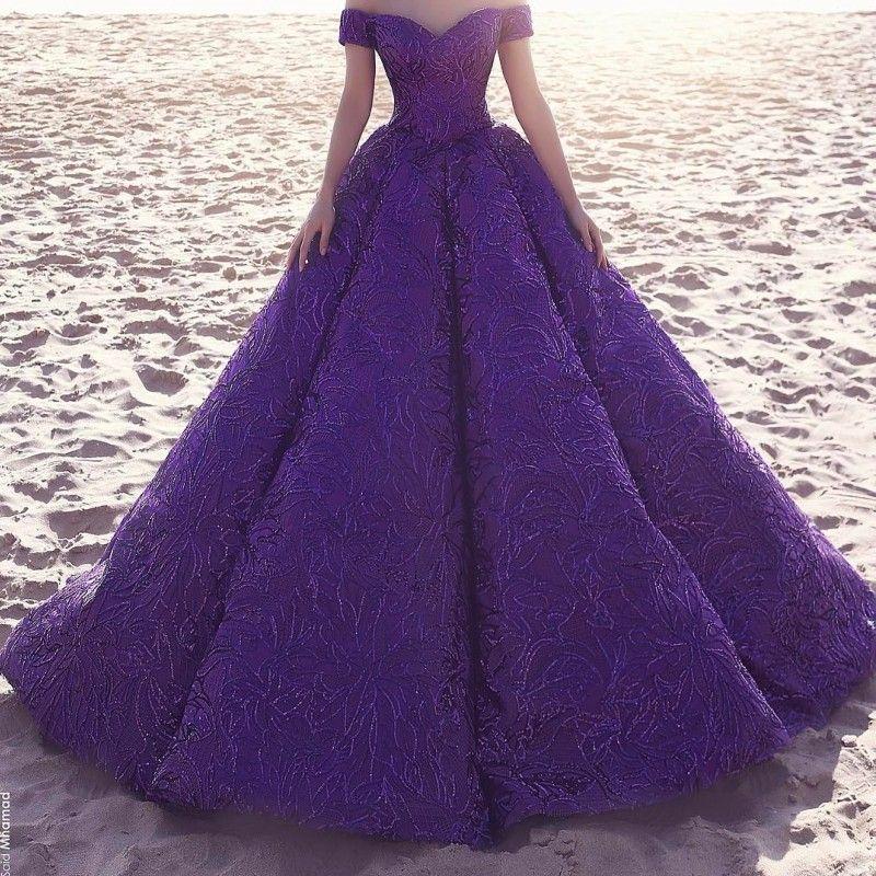 Abiti da ballo di moda viola profondo sexy da ballo con scollo a barchetta lungo pavimento di pizzo abito da ballo party glamour Saudi Dubai abiti da sera celebrità