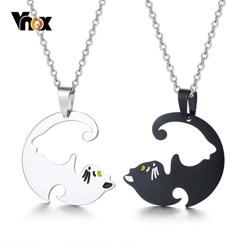 a6caf27648 Vnox Cute His and Her Couples Necklaces Stainless Steel Beloved Pet Cat  Pendant Colar Gifts Free O Chain 20