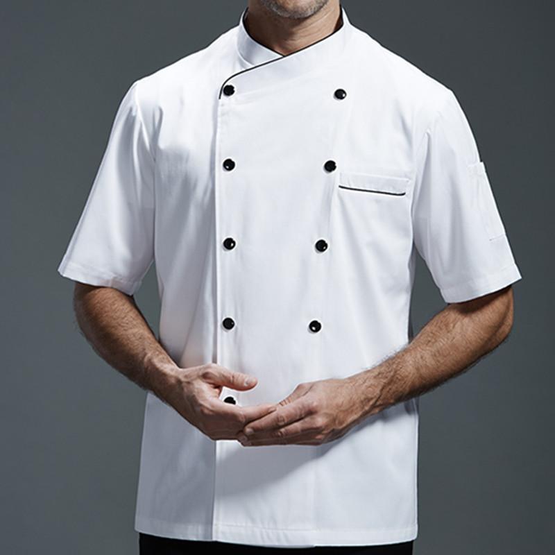 ef29d95222 Compre Branco Cinza Preto Camisa De Manga Curta Hotel Restaurante Kitchen  Uniforme Do Chef Barista Bistrô Jantar Baker Bar Catering Desgaste Do  Trabalho B79 ...
