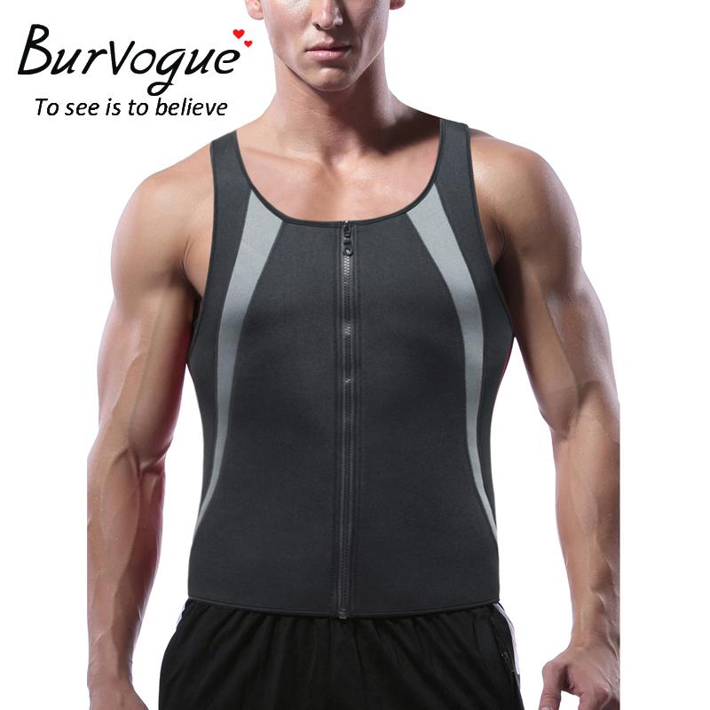 fad14fc083e 2019 Burvogue Mens Waist Trainer Sauna Vest For Weight Loss Hot Neoprene  Sweat Body Shaper Zipper Slimming Tank Top Workout Shirt From Xiatian6