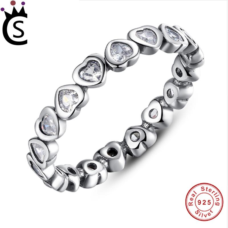 0ed9f86c3 Authentic 100% 925 Sterling Silver Rings Love Heart Forever More Stackable  Ring Clear CZ Jewelry New Year Presents Amethyst Rings Unique Wedding Rings  From ...