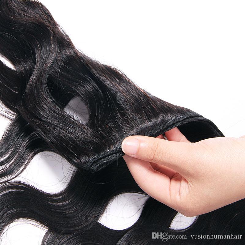 Virgem Cabelo boa qualidade brasileira Pacotes onda do corpo Weave massa Natural Preto não transformados Raw Cabelo Pacotes onda do corpo do cabelo humano