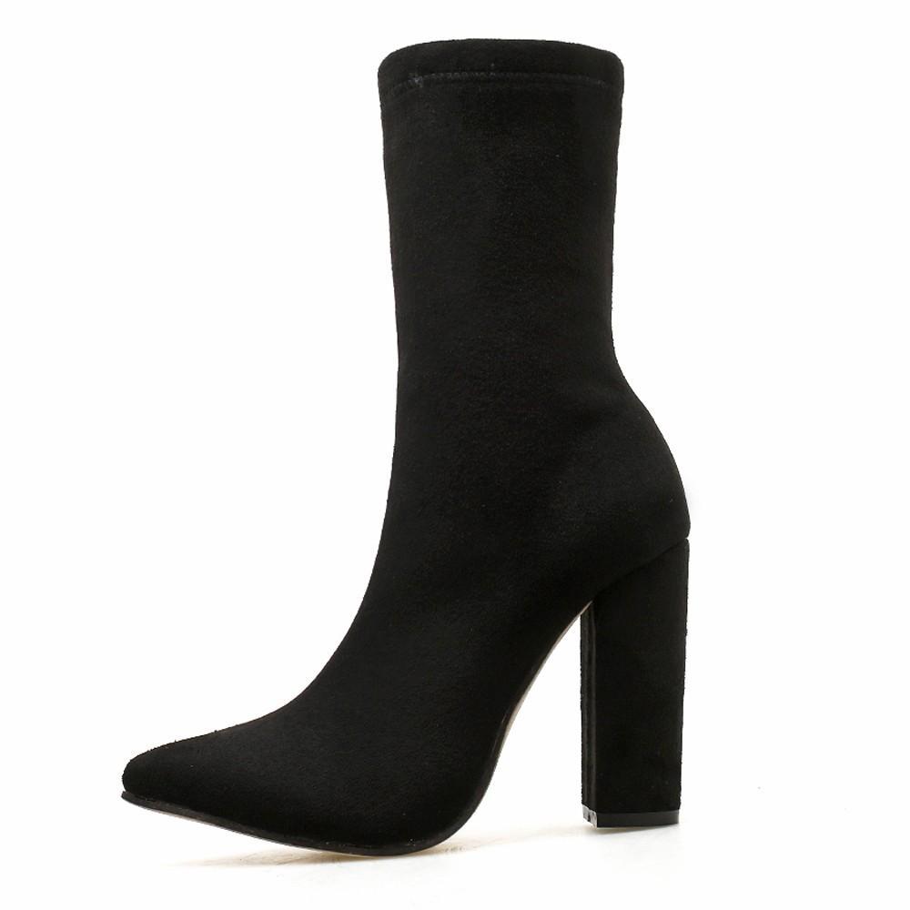bd4192b013 Compre Mulheres Moda Boate Apontou Toe Fios Elk Ankle Boots De Salto Grosso Sapatos  De Salto Alto Moda Apontou Toe Flock Boots De Hongxuanstore004