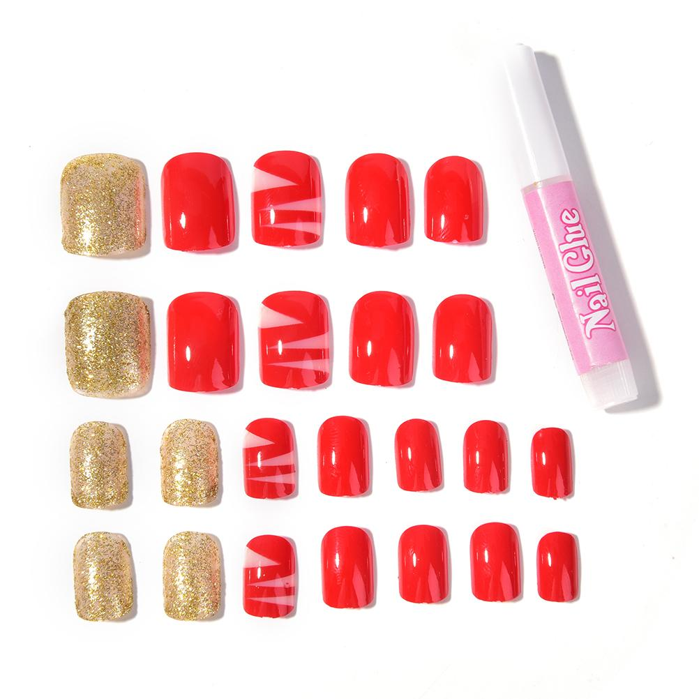 Red Nail Tip Artificial False Acrylic Design Fake French Full Nails ...