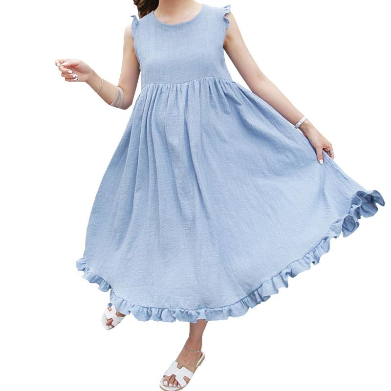 c1b19815eb8a2 2019 Linen Pregnancy Dresses For Pregnant Women Maternity Clothes  Sleeveless Loose Dress Clothing High Quality Gravida Wear Summer From  Paradise02, ...