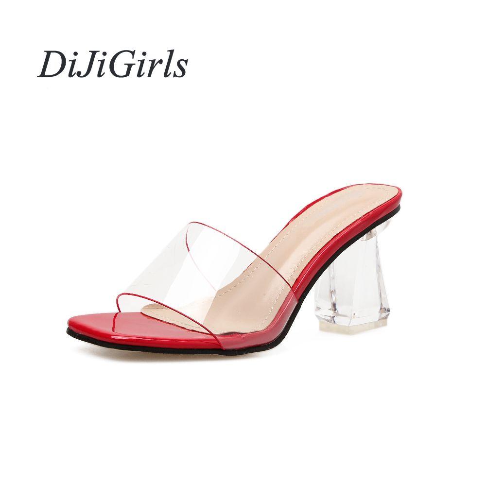 c6a8d93baaeb7 Großhandel Sommer Mode Frauen High Heels Transparent Seltsame Art Damen  Slip-On PVC Berühmtheit Frau Pumps US5-8.5 Schwarz Rot