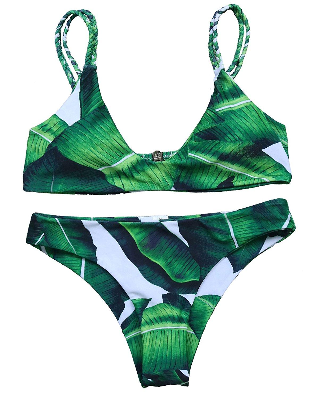 ffb621cb24343 Womens Sexy Push-up Bikini Set Bathing Suits Padded Two Piece Tankinis  Printed Leaf Bikini Set Swimsuit