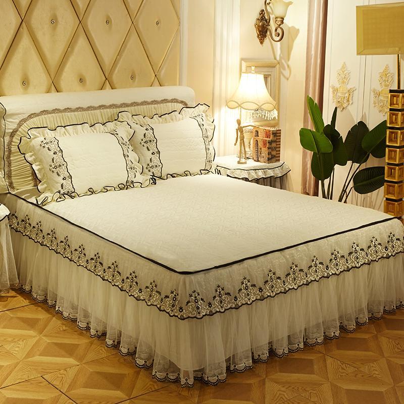 Ivarose Princess Lace Bedskirt Set Girls Bedding Sets King/Queen/Full Size  Blue Pink Purple Bed Sheet Set Pillowcases Bedspread Down Comforter Covers  Sheets ...