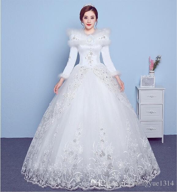 Wedding Dress Winter 2018 New Word Printed Shoulder Season Neat ...