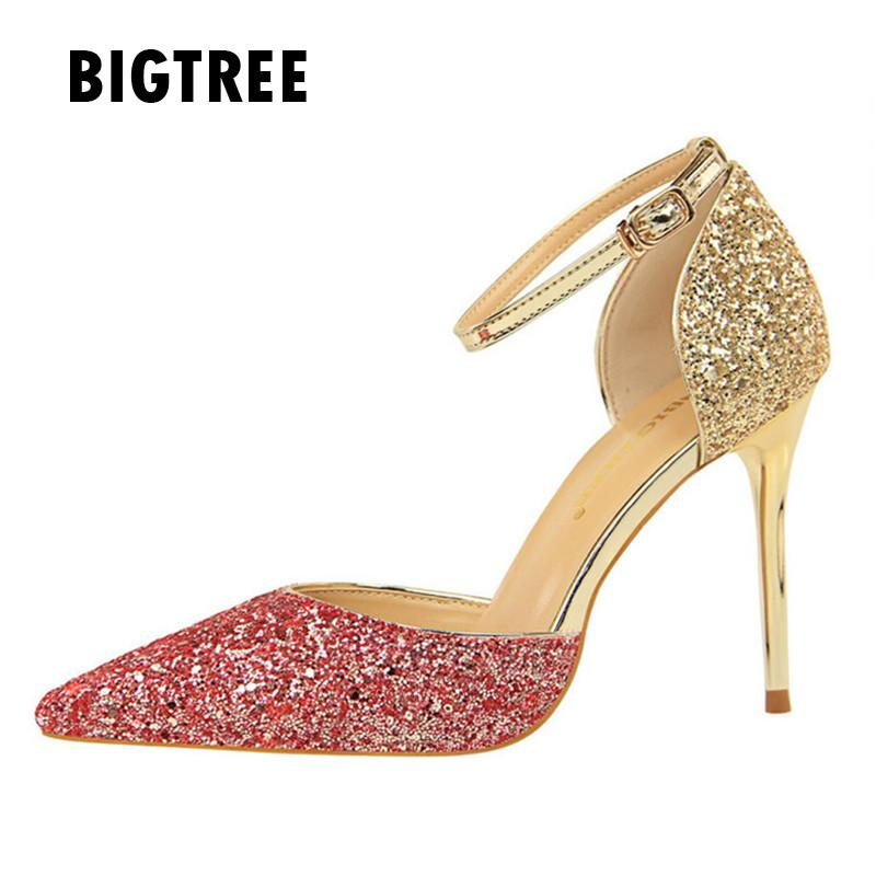 5ee61d366a934 2018 Women Pumps Fashion Bling Stiletto High Heels Ladies Summer Shoes Sexy  Ankle Strap Buckle Party Wedding Shoes Woman Zapatos Cheap Shoes For Men  Italian ...