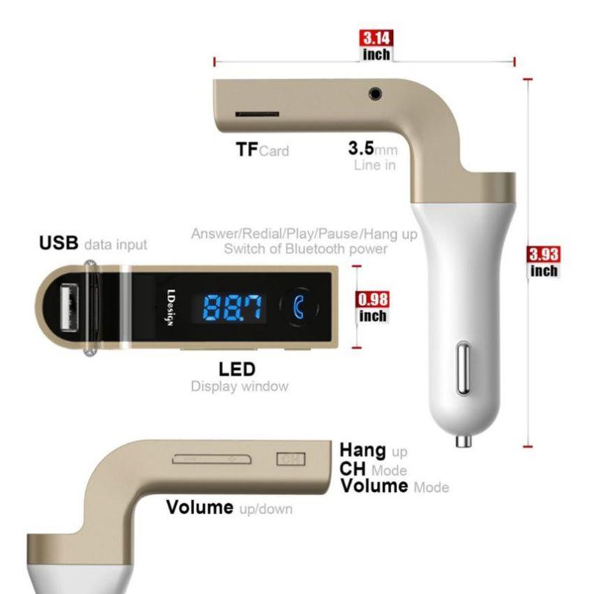 G7 Araba Kablosuz Bluetooth MP3 FM Verici L Tasarım Modülatör 2.1A Araç Şarj Kablosuz Kiti Desteği Eller Serbest Mikro GGA68