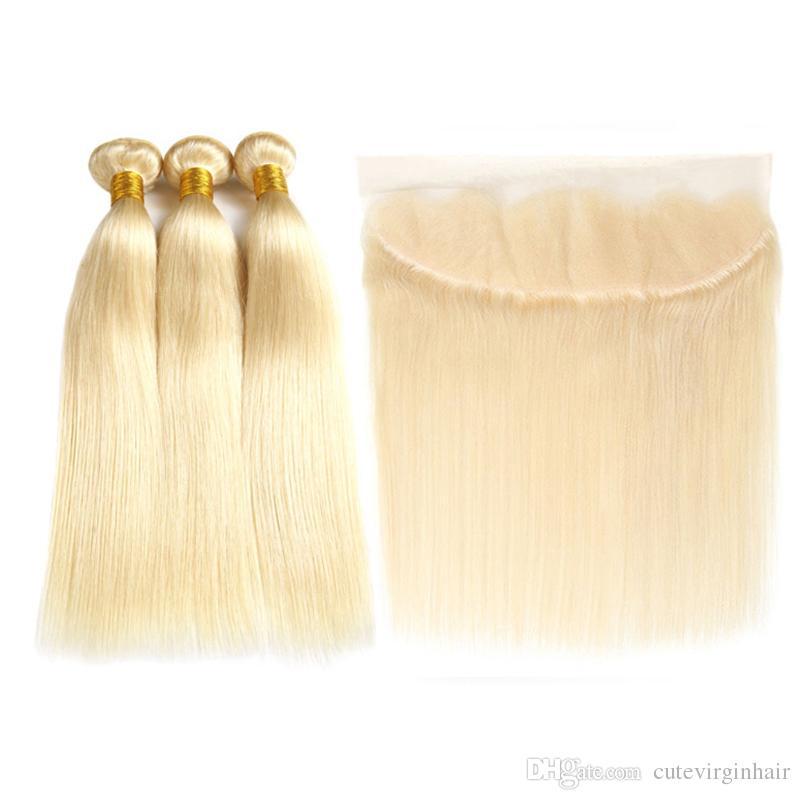 Fasci di capelli vergini brasiliani biondi completi 3 613 con fasci biondi del tessuto 100% dei capelli umani diritti del merletto frontale 13x4 con estensione frontale