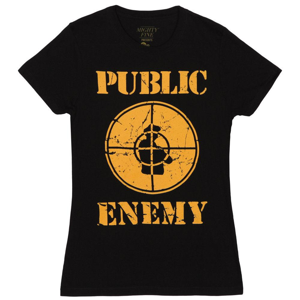 5c505a89cd6b02 Public Enemy Logo Distressed Licensed Women S Junior T Shirt Black Of T  Shirt T Shirt On From Lanshiren