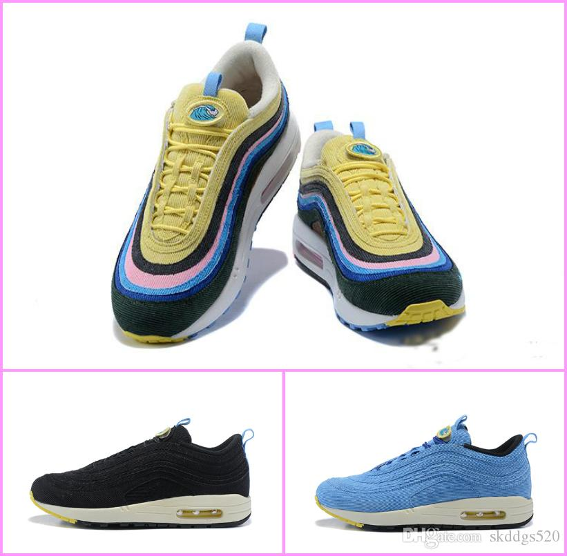 huge selection of c3a58 697fd 2018 Vapormax 97 Sean Wotherspoon VF SW Men Running Shoes Top 97s Women  Vivid Sulfur Multi Yellow Blue Hybrid Sports Sneakers 36-45