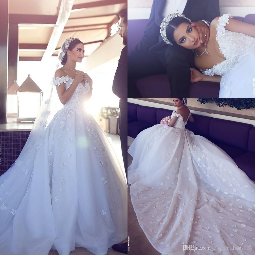 Großhandel 2018 Sagte Mhamad Luxury Lace Brautkleider Off Schulter ...