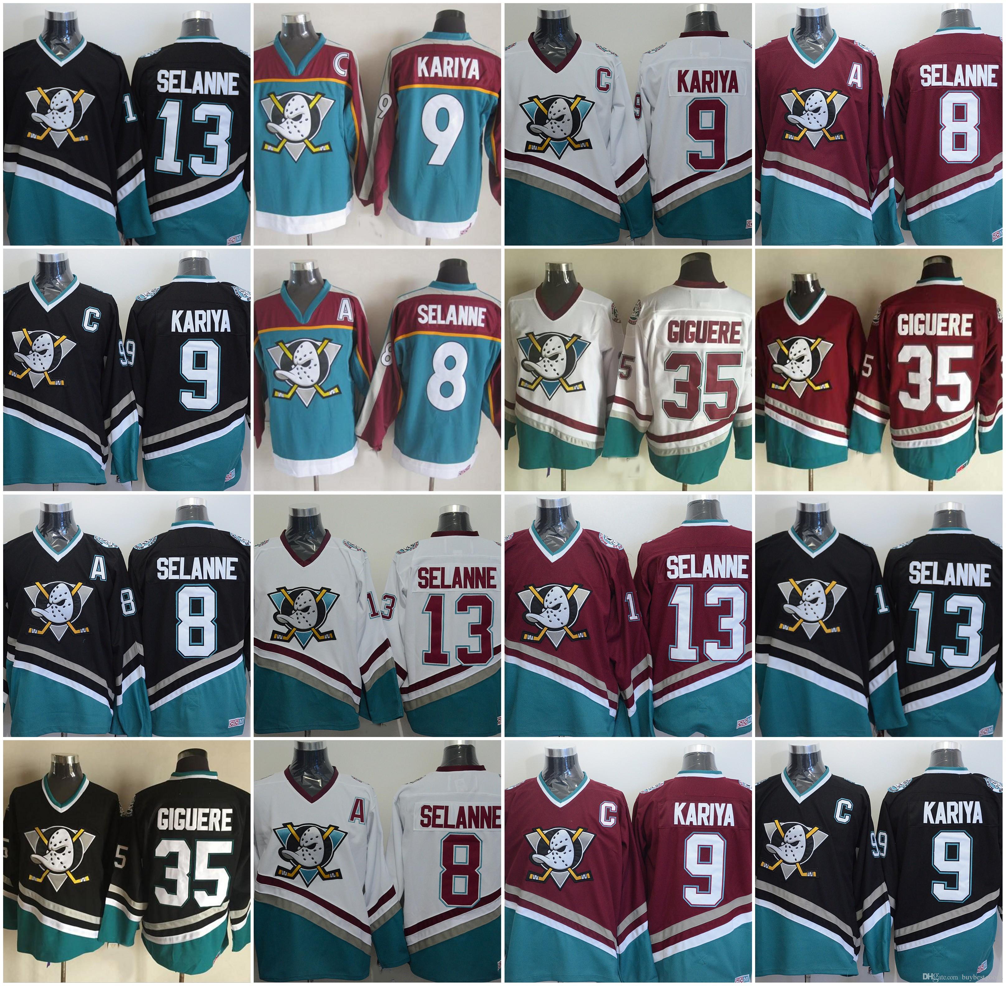 5098bf109 CCM Anaheim Mighty Ducks Hockey 8 Teemu Selanne 9 Paul Kariya 35 Jean  Sebastien Giguere 13 Teemu Selanne 1998 Vintage Jerseys UK 2019 From  Buybestgoods