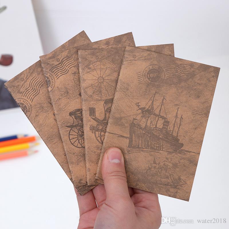 Papier à notes en cuir de vachette blanc Bloc-notes livre Vintage Kraft Papier facile à transporter Petit ordinateur portable Graffiti Sketch Creative Simple Papeterie 23318