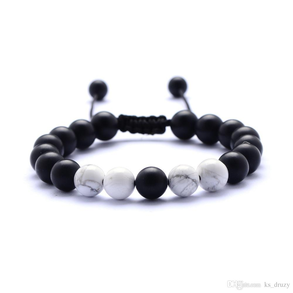 8MM Lava Stone Essential Oil Diffuser Bracelet White Black Beads Bracelet Hand Strings for Women Jewelry