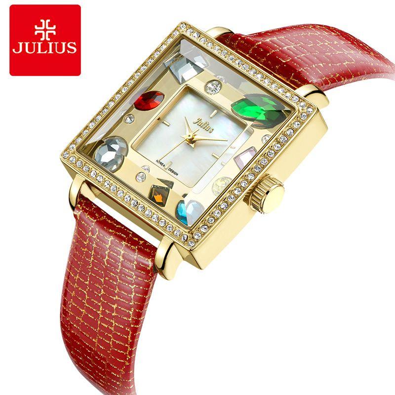 e2fcc3f5e054 Compre Julius Marca Plaza Dial Mujeres Pulsera Relojes De Lujo Grande  Rhinestone Señoras Cuero Cuarzo Relojes De Pulsera Vestido De Regalo Reloj  Mujer A ...