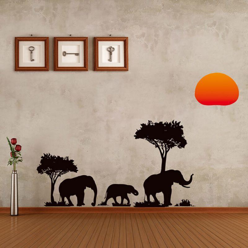 89 * 37 CM Afrika Elefant Sonnenuntergang Bäume Wohnkultur Wandaufkleber Kindergarten Kindergarten Büro Sofa Hintergrund Dekorative Aufkleber