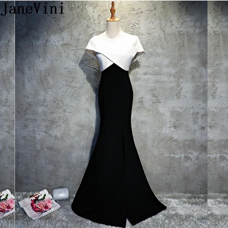 6eae621b6b vendita all ingrosso abiti da sera lunghi bianchi e neri elegante  spaccatura laterale della sirena madre della sposa abiti cena cena di gala  di raso ...