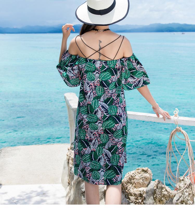 Hombro de impresión Bodycon vestido de mujer Casual Ruffle Beach Summer Dress 2018 Streetwear Robe Femme Mini vestido Vestidos