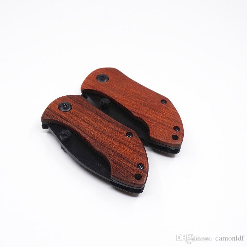 DA33 мини маленький складной нож 440c стальной клинок деревянная ручка EDC кемпинг карманный нож с задней клип походные Инструменты ножи лучший подарок