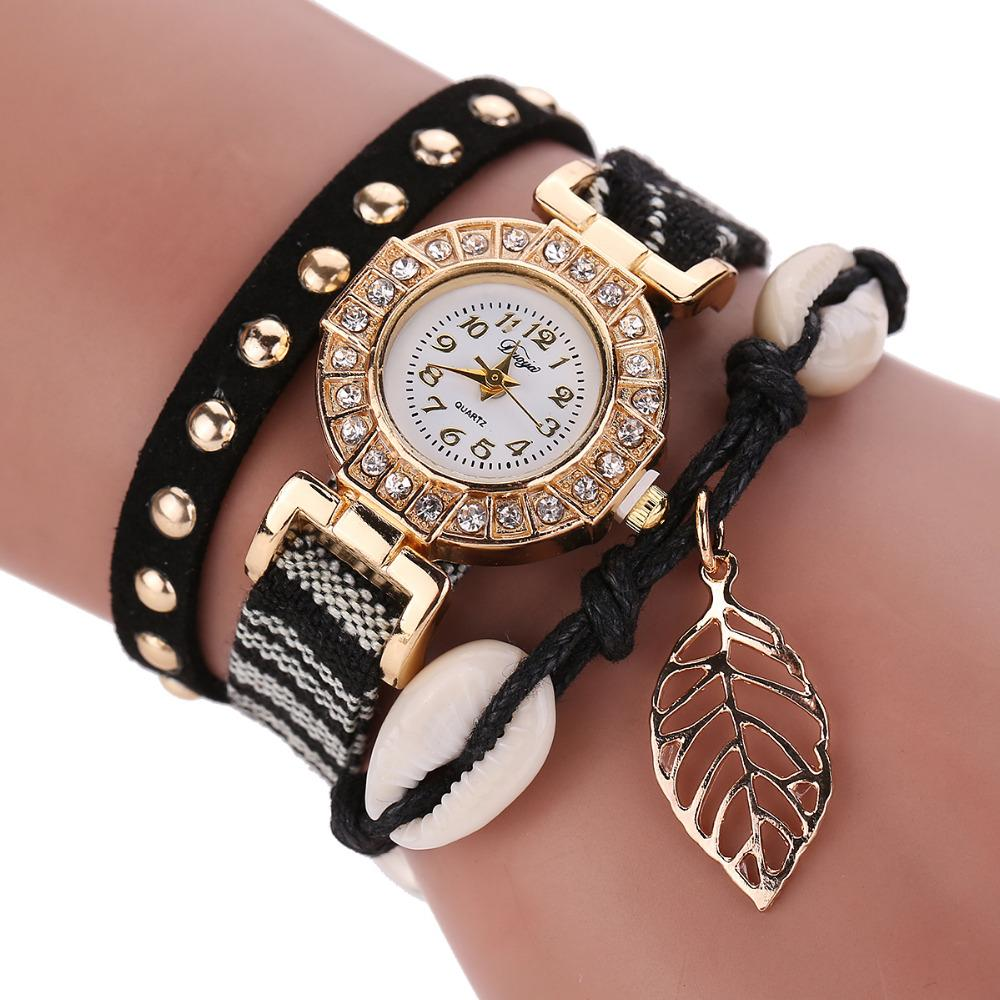 d75f06a6476 Acheter Mode Bijoux En Cuir Bracelet Montre Femmes En Acier Inoxydable  Bracelet En Cuir Tressé Bracelet Quartz Montre Bracelet Horloge Marque  Cadeau De ...