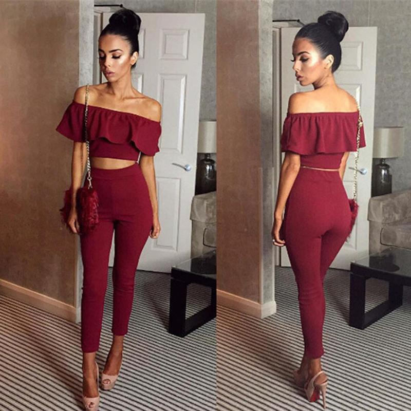 7fed57e27d61 2019 Rompers Womens Jumpsuit Off Shoulder Set Long Slim Ruffles Bodycon  Macacao Femini Overalls Playsuit Romper Women Jumpsuit Y1891901 From Tao01