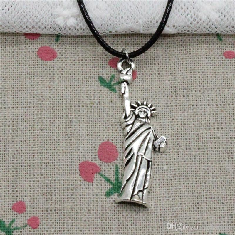 Creative Fashion Antique Silver Pendant statue of liberty new york 49*14mm Necklace Choker Charm Black Leather Cord Handmade Jewlery