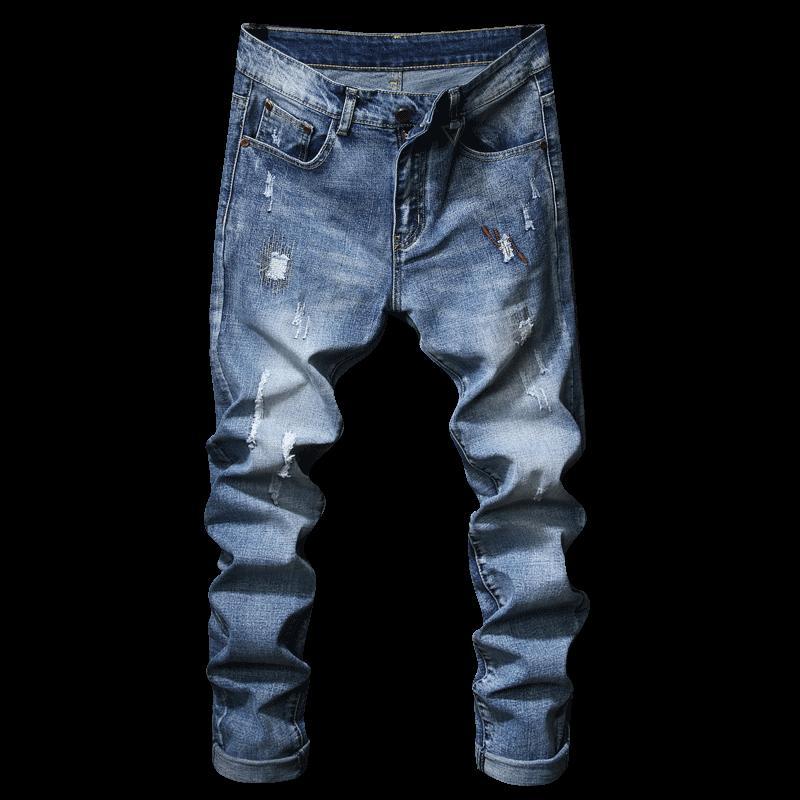 Compre De Buena Calidad Jeans Hombres 2018 Nueva Moda Casual Jeans De  Algodón Clásico Hip Hop Agujero Azul Stretch Straight Slim Fit A  38.48 Del  Vincant ... 0aeaa7f3666