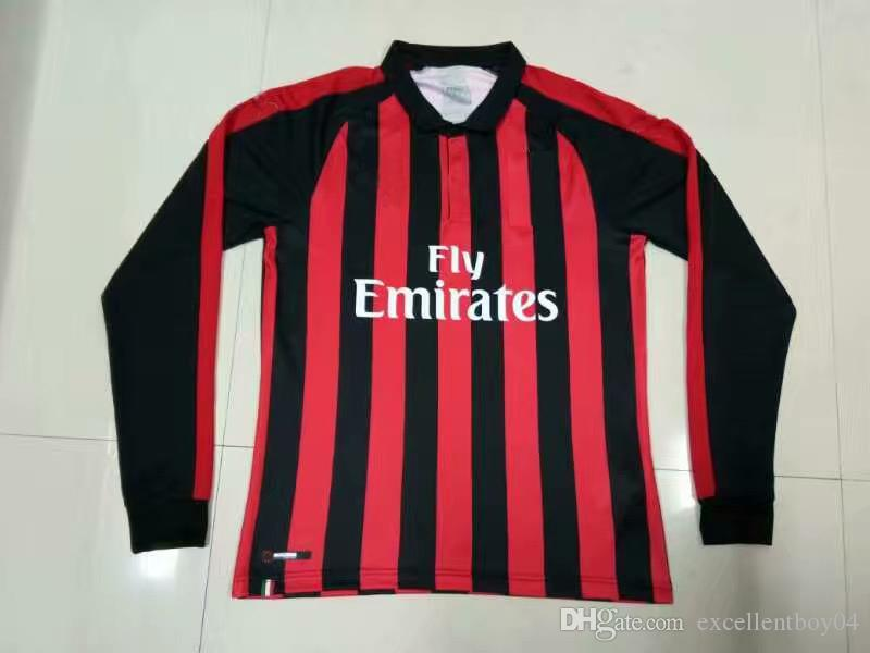 2018 19 Milan Soccer Jersey Camiseta De Manga Larga Para Hombre 18 19 Milan    9 HIGUAIN Camiseta De Fútbol   10 CALHANOGLU Uniforme De Fútbol Venta  Tamaño S ... 621dd10b46ce8