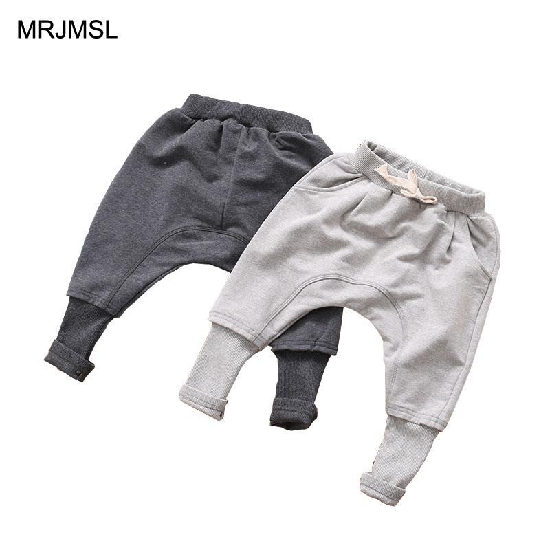 c2f0361243fb7 Acheter MRJMSL Kids Printemps Automne Vêtements Pantalons Enfants Pour Bébé  Garçons Pantalons Filles Sarouel Gris Noir Solide 2018 De $33.36 Du  Paradise02 ...
