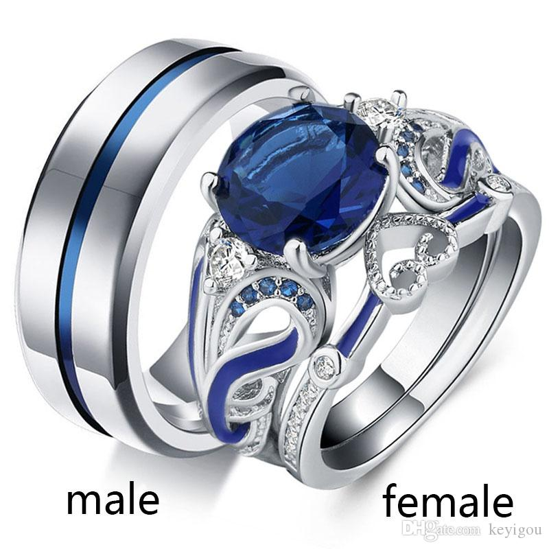 2019 Sz5 12two Rings Couple Ring His Hers Round Sapphire White Gold