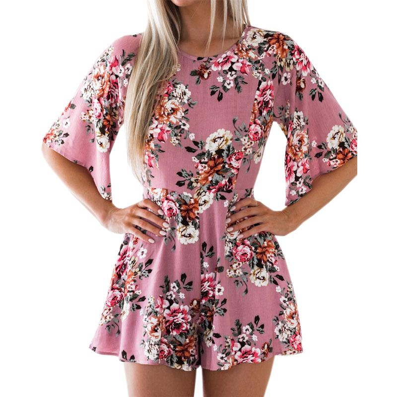 a80bf8452a8e 2019 Sweet Floral Print Women Playsuits Sexy Jumpsuit Shorts 2018 Half  Sleeve Party Beach Summer Playsuit Sexy Backless Overall GV417 From  Mobile02, ...