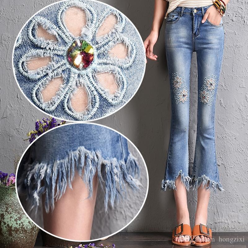 e1bb858b1c womens denim flare pants summer tassel rhinestone korean fashion fringe  hole Embroidery floral skinny ripped 3\4 jeans vestiti donna estate