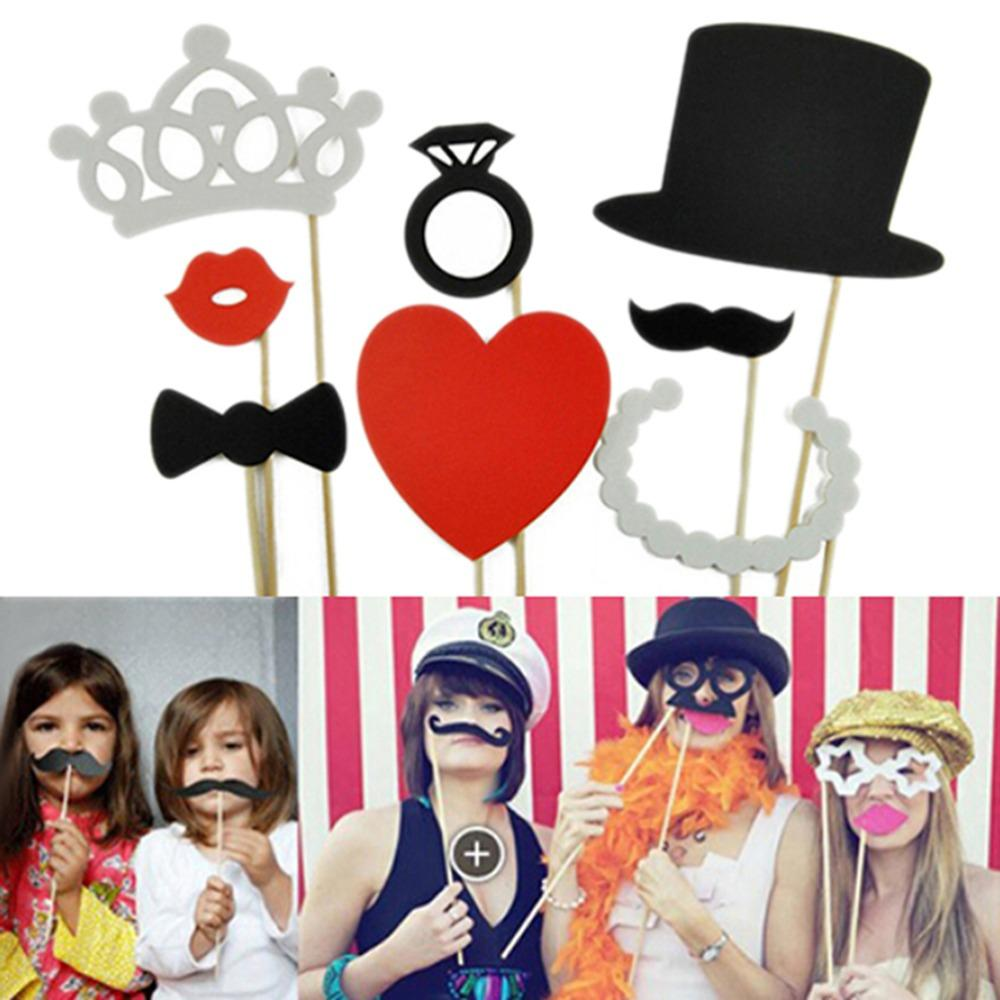 Photo Booth Props Crown Hat Heart Bowtie Mustache Lip On A Stick Wedding Birthday Party Fun Favor Event Decor Supply First And Bib