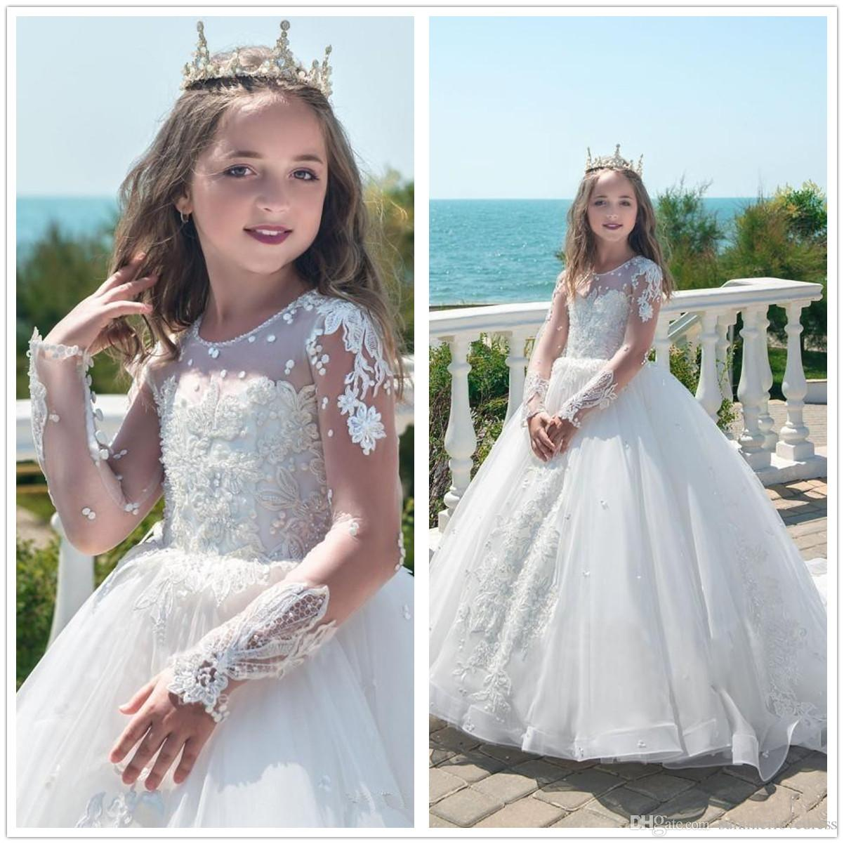 2018 White Long Sleeves Lace A Line Flower Girl Dresses Tulle