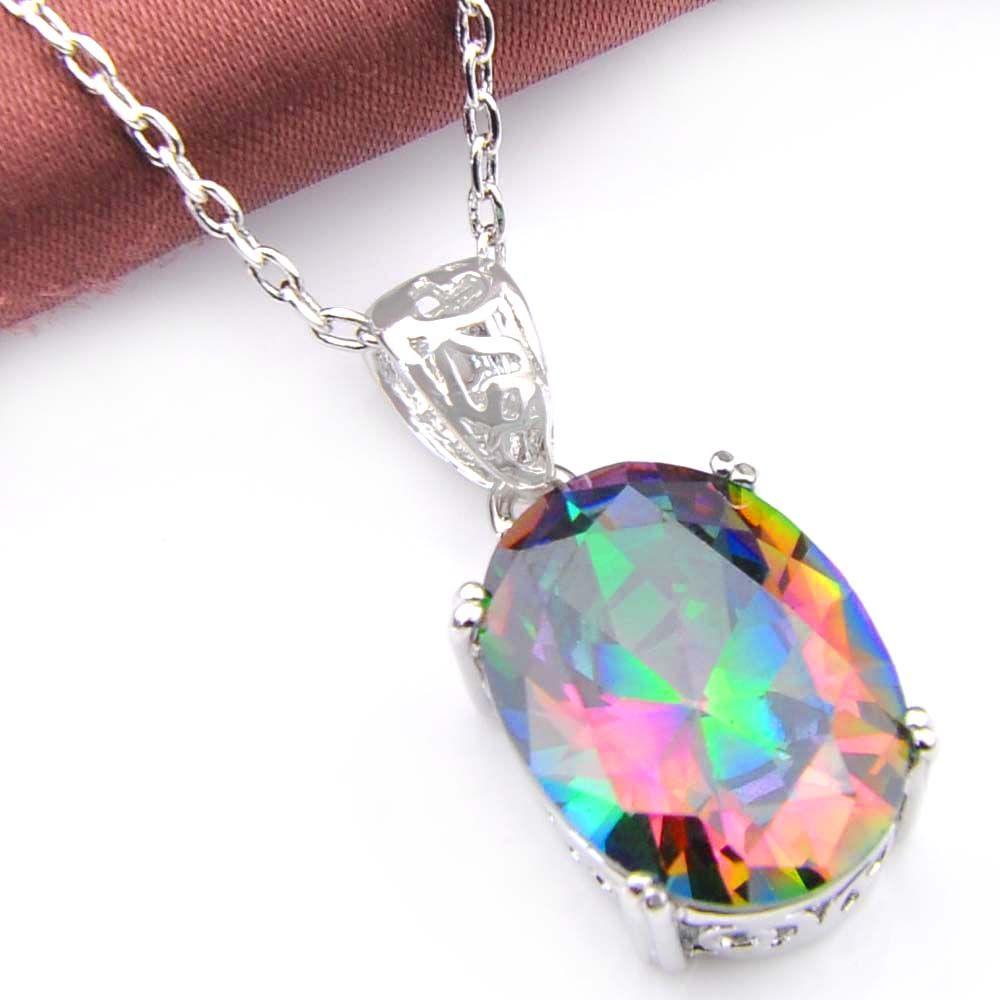 Novel Luckyshine Ellipse Mystic Rainbow Crystal Cubic Zirconia 925 Silver Pendants Necklaces Earrings Gift Wedding Jewelry Sets