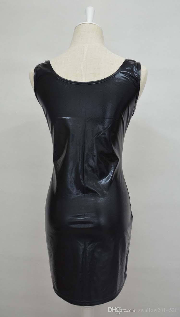 Plus Size S-5XL Frauen Schwarz Gold Silber Sexy Leder Kleid Latex Club Wear Kostüme Kleidung PVC Dessous Catsuits Cat Anzüge Sex Produkte