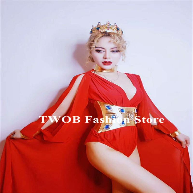 F26 Ballroom Dance Female Costumes Singer Red Bikini Outfit Catwalk  Performance Dresses Party Clothe Dj Cloak Club Bra Model Bodysuit Disco  Costumes ... 53d43f48b0b0