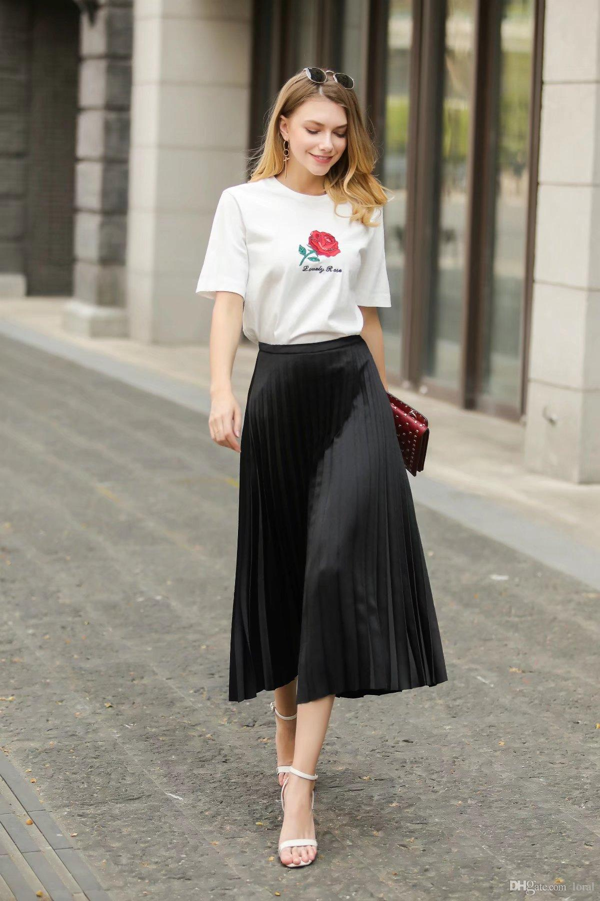 53a537277b5ae Womens Classic Long Skirts Summer Spring Autumn Sweet Female Casual ...