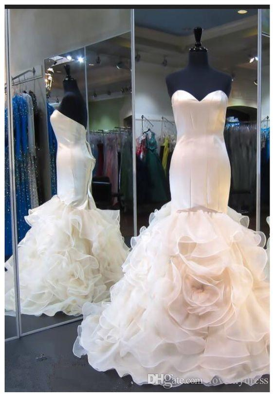 13d90d44b Light Champagne Dresses Women Evening Party Wear Night Out Designer Ruffles  With Flowers Organza Mermaid Long Prom Formal Dress Cheap Sexy Dresses  Cheap ...