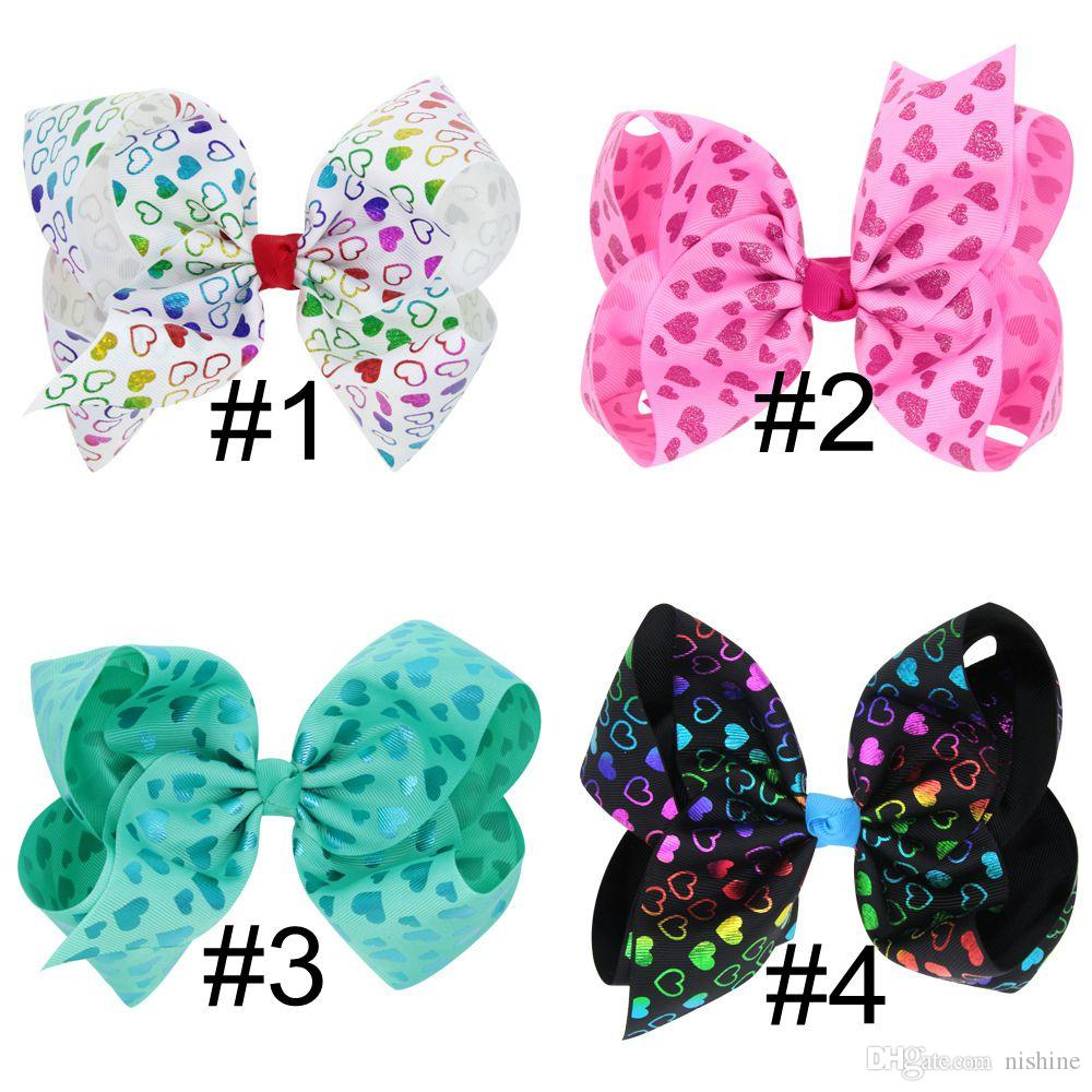 2018 New Unicorn Hair Bows Clips Kids Girls Large Heart Unicorn Ribbon Cheer Bows Hairgrips Birthday Hair Accessories