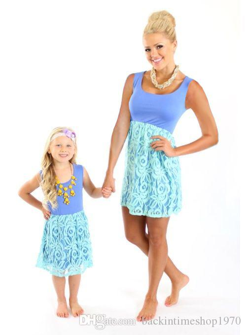 Fashion Mother and Daughter Dress Family Matching Bohemia 2018 Girl Lace Chiffon Blue Dress Cotton Family Matching Clothes