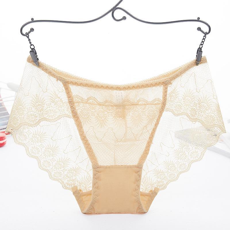 iiiher Sexy Transparent Dentelle Sans Soudure Culotte Basse Taille Slips Sous-Vêtements Dentelle Floral Lingerie Sous-Vêtements Femmes Bragas Mujer