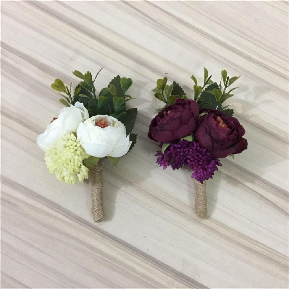 2018 Ivory Wine Red Artificial Flowers Buttonhole Boutonniere Groom